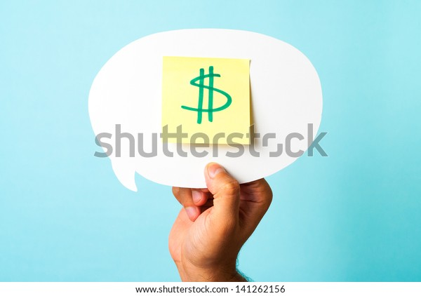 Finding the right investment opportunity, social media budget, pricing. Green dollar money sign symbol on stick-note over speech bubble and blue background.