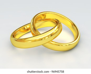 fine 3d image of classic golden wedding rings