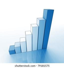 fine 3d image of growing blue graph