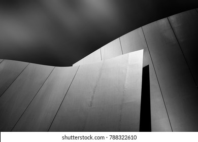 fine art architecture, black and white and modern picture of an building