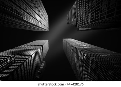 Fine art black and white upward perspective with four New York skyscrapers