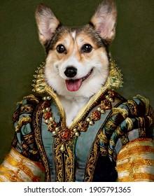 Fine art dog painting with corgi