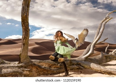 Fine art fashion photo of a young woman wearing a short dress held up by a hawk in the desert