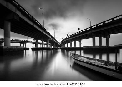 Fine art image in black & white of Penang Bridge Pulau Pinang Island, Malaysia. Soft Focus due to long exposure.