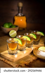 Fine art photo of alcohol liquor tequila and shot glasses