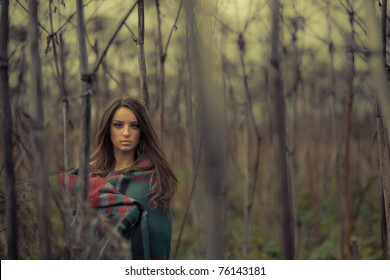 Fine art photo.Young  woman  in thickets