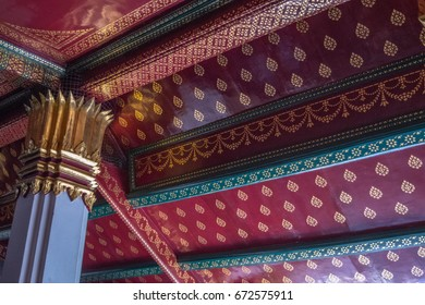 Fine art under the roof inside the Emerald Buddha Temple