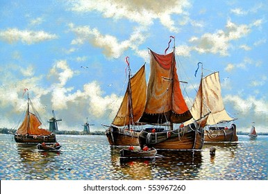Fine art,classic art,boats fisherman, paintings oil