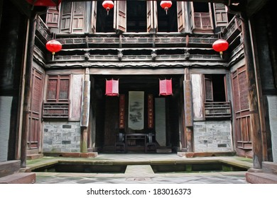 Fine carpentry of a traditional chinese house in Anhui province, china,  stylized and filtered to look like an oil painting