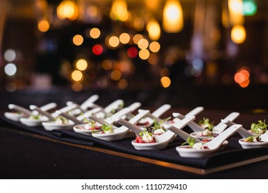 Fine dining canapes on spoons