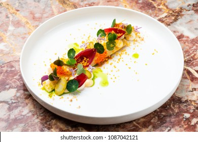Fine dining, Elegant fish tartare with asparagus and spices