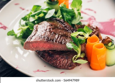 Fine Dining - Meats - Grilled Sirloin Steak, Spinach, Cucumber and Carrots