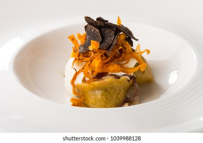 Fine dining ravioli with Truffles and bacon