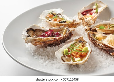 Fine dinning oysters plate in modern style