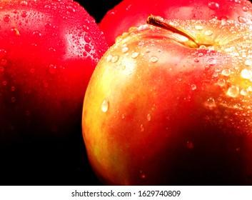 Fine Fresh Red Apples on Black Background