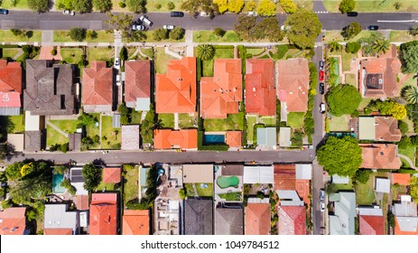 Fine geometry of modern local living suburb of Chatswood in Sydney's North Shore in aerial overhead view over house roofs, back yards, pools and parked cars on the streets.