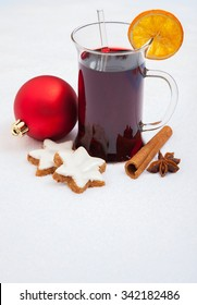 Fine german gluhwein on snow background