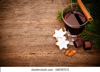 Fine german gluhwein on wooden board