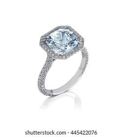 Fine jewelry: big diamond engagement ring  isolated on white background.