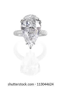 Fine jewelry: large pear shaped diamond engagement ring isolated on white background.