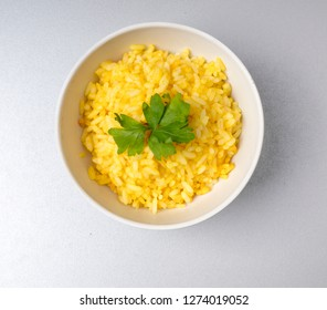 Fine lunch, yellow rice with saffron