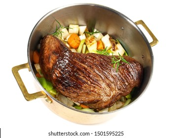 Fine Meat - Braised Beef Roast in a Pot on white Background
