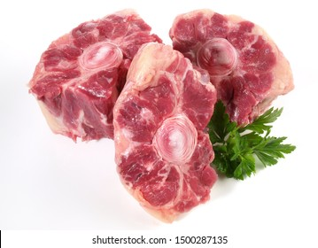 Fine Meat - Raw Oxtail Pieces on white Background