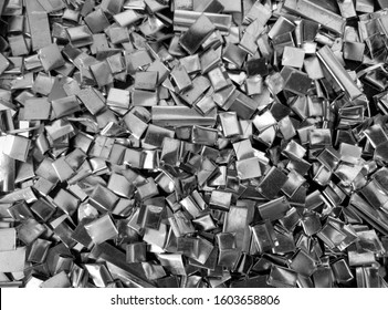fine pieces of metal waste flakes in an industry