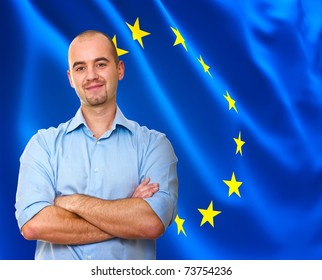 fine portrait of smiling man with european flag background