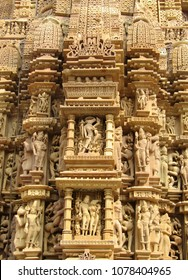 Fine Sculpture on the temples at Khajuraho in India, popular worldwide for its outstanding architectural designs and the art of ecstacy. It is a unesco world Heritage site