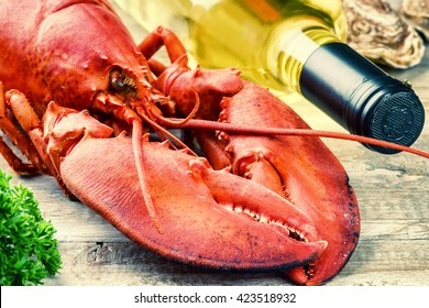 Fine selection of crustacean for dinner. Steamed lobster with bottle of white wine closeup
