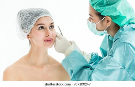 Fine Thread Lifting, Doctor surgery with suture on beauty face, Beautiful woman gets a suture after plastic surgery Cosmetology. Beauty Face, Beauty woman giving  plastic surgery,  Age 20-30 years,