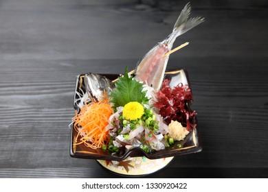 finely chopped horse mackerel sashimi