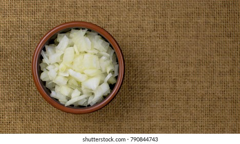Finely chopped onions on a  plate.