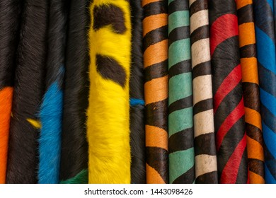 Finest Argentine Cow Leather. Cowhide rugs with natural hair dyed fantasy colors.