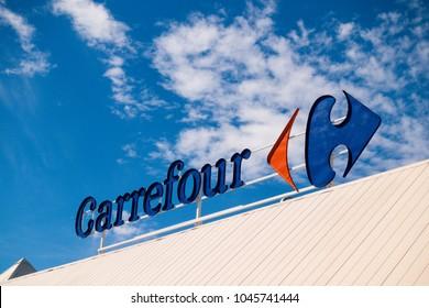 Finestrat, Spain - March 9, 2018: Carrefour logo in Finestrat Spain.