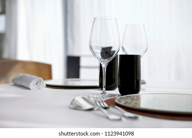 Finet table set in a luxurious restaurant