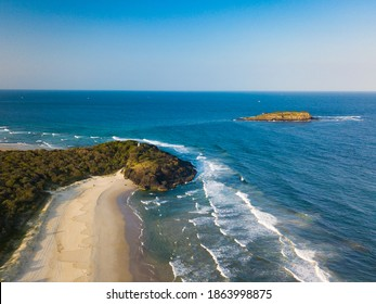 Fingal Head in Northern NSW Australia looking towards the ocean and Cook island. Dreamtime Beach is in the foreground leading up to the headland.