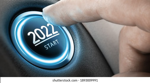 Finger about to press a car ignition button with the text 2022 start. Year two thousand and twenty two concept. Composite image between a hand photography and a 3D background.