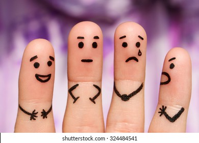 Finger art. Concept of group of people with different personalities.