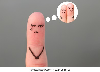 Finger art of lonely woman is crying. Concept of single girl remembers past relationship.