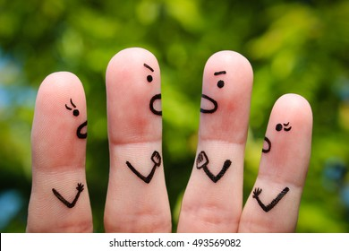 Finger art of people during quarrel.