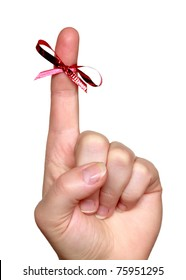 finger with bow isolated on white background