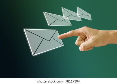 Finger choose the mail icon