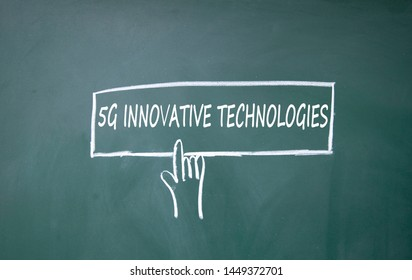 finger click 5G symbol on blackboard