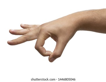 finger flick hand on white background isolated. Male hand gesture in high resolution.