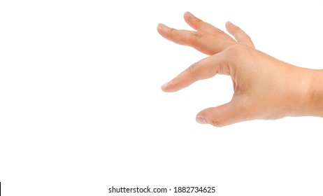 Finger flick hand on white background isolated. Female hand gesture.