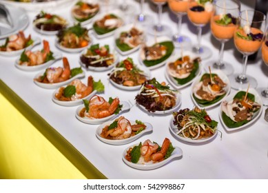 Finger Food appetizer. Variety bite sized snack for wedding party. Thai Food, Asian style