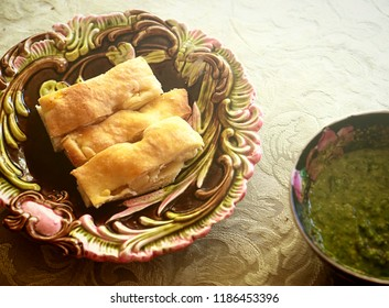 finger food, focaccia di Recco, delicious slices with pesto dip