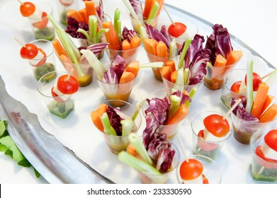 Finger food - Vegetables canapes in verrine